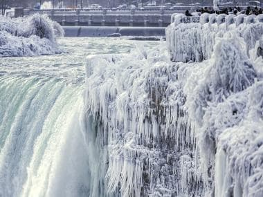 Niagara waterfalls frozen and covered in ice as extreme cold sparks chaos in Canada