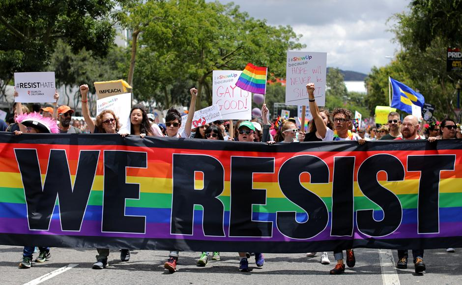 LGBT activists launch 'resist march' in California to protest Donald Trump's homophobic stance