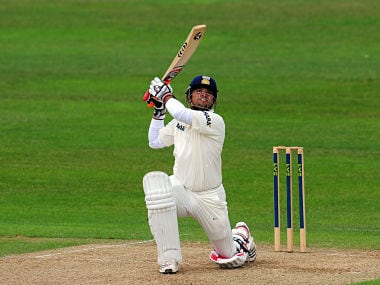 Indian batsman Suresh Raina hits a boundary on his way to a century against Somerset. Getty Images