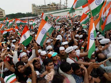 Anna supporters during his fast at Ram Lila maidan in Delhi in this file photo. PTI
