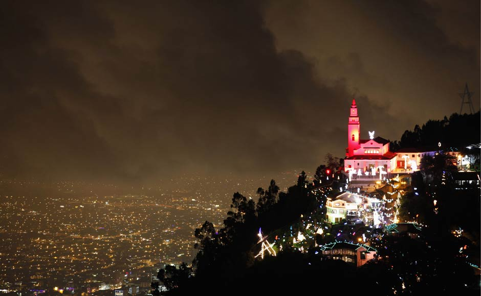 A view of tje illuminated Christmas decorations at Monserrate church in Bogota, Columbia. Reuters