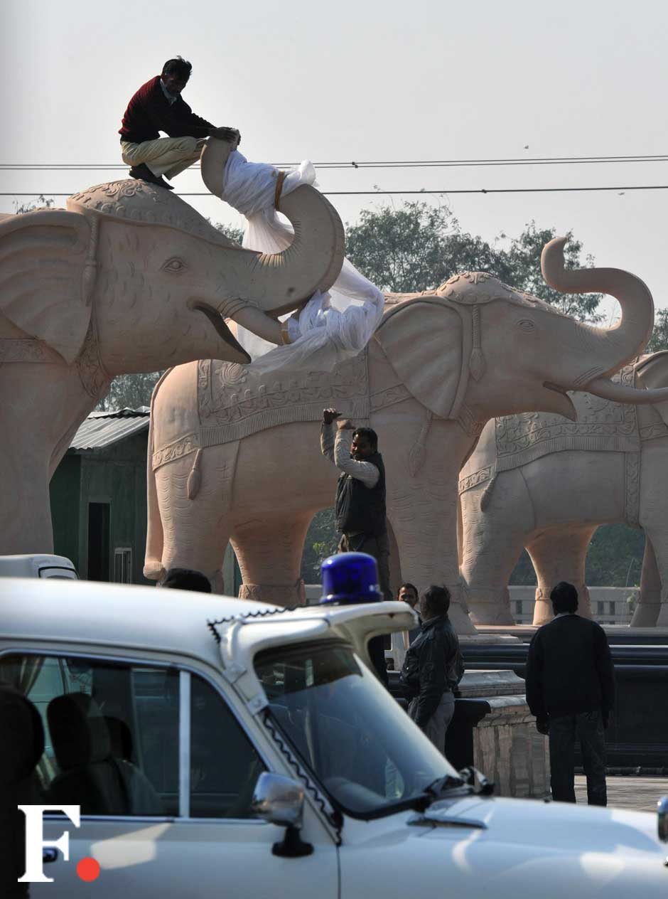 According to news reports, the plastic sheets proved to be too small to cover the elephants. Naresh Sharma/ Firstpost