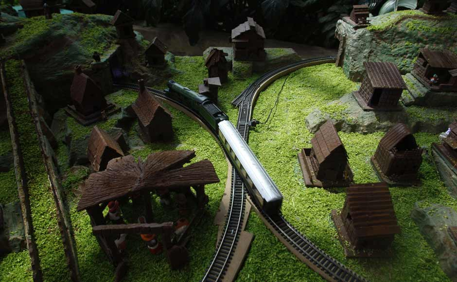 It's all made of chocolate, the house we mean, not the train. Reuters