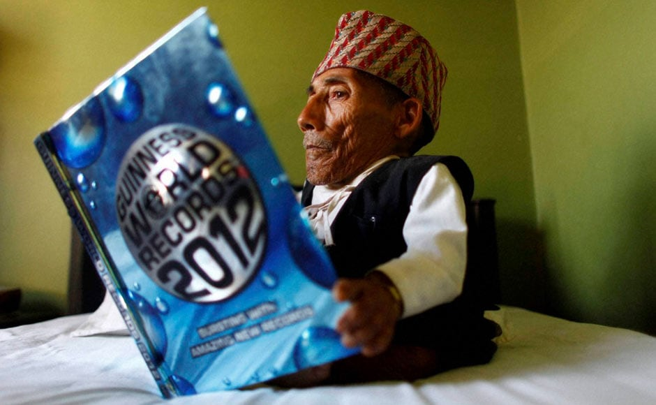 World's shortest man, equal to six cans of baked beans