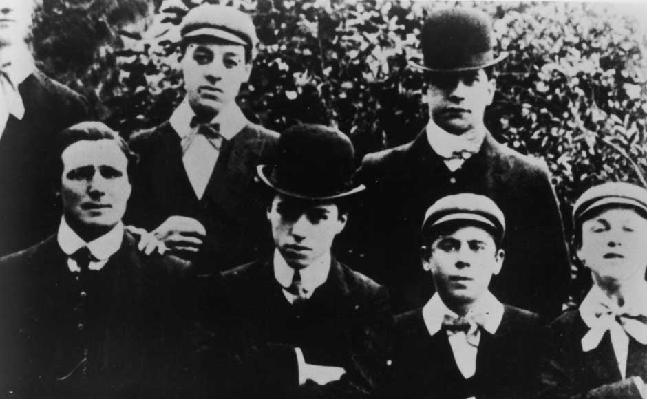 English comic actor Charlie Chaplin with other members of the Casey's Circus music hall comedy troupe, UK, 1906. Getty Images