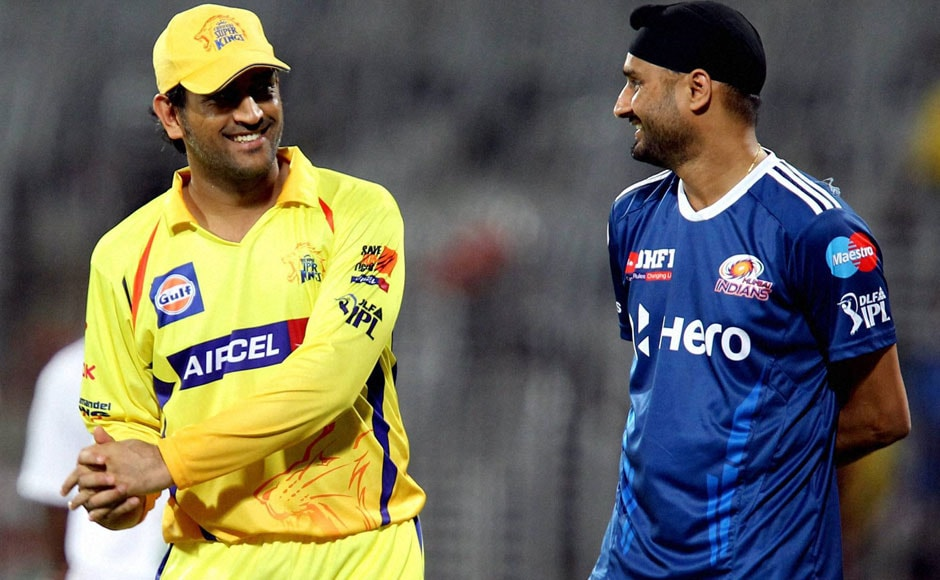 The two captains: Dhoni and Harbhajan Singh. PTI