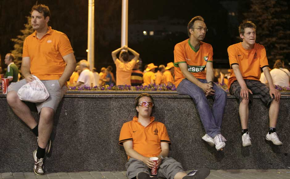 Netherlands' fans react at the end of their Group B Euro 2012 soccer match against Germany. Reuters