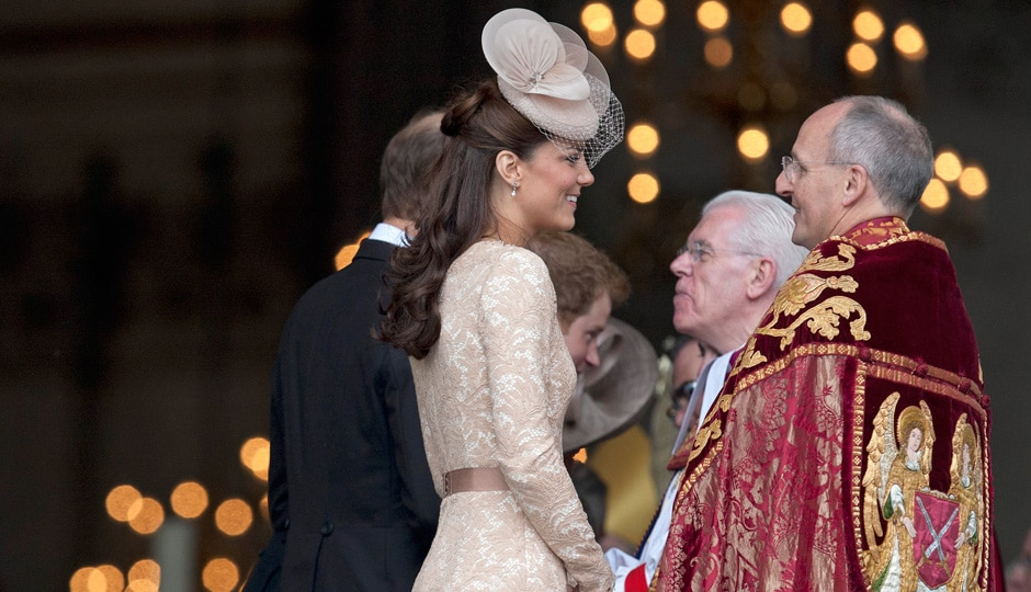 Kate, Duchess of Cambridge talks to religious leaders as she arrives at St Paul's Cathedral for a national service of thanksgiving for the Britain's Queen Elizabeth II and her Queen's Diamond Jubilee in London. AP