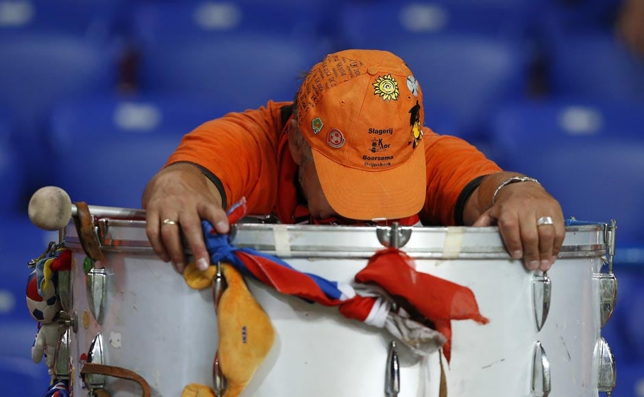 A Netherlands' fan reacts at the end of their Group B Euro 2012 soccer match against Germany at the Metalist stadium in Kharkiv. Reuters