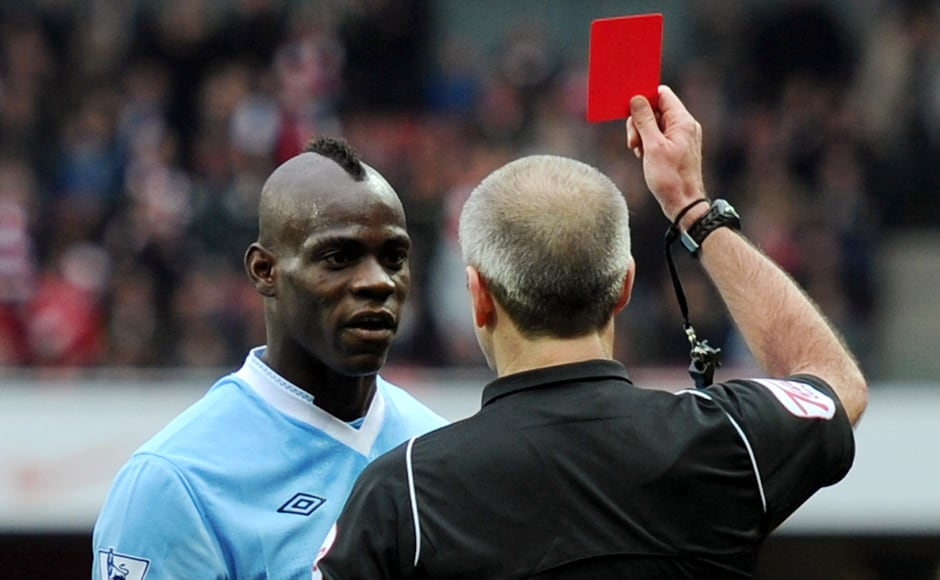 Balotelli gets sent off in April in a match against Arsenal in the English Premier League. Getty Images
