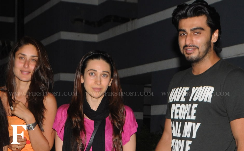 Tuesday night was party time for sisters Kareena and Karisma Kapoor along with Arjun 'Ishaqzaade' Kapoor at Sanjay Kapoor's residence in Juhu. Raju Shelar/Firstpost