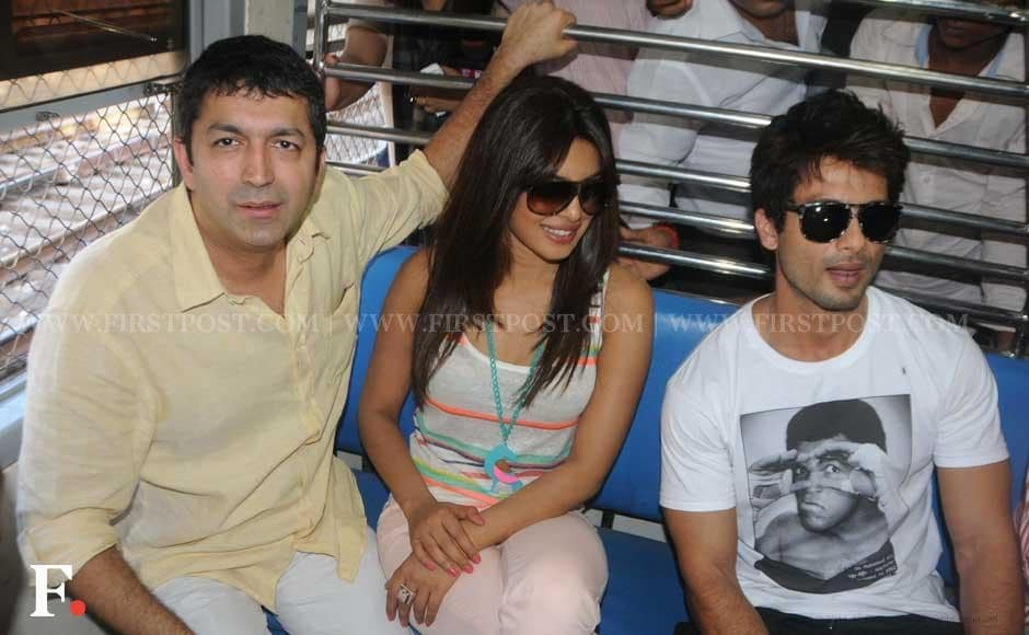 Kunal Kohli, Priyanka Chopra and Shahid Kapoor taking a local train ride. Raju Shelar/Firstpost
