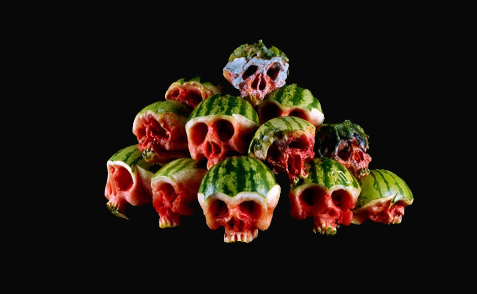 A group of watermelon skulls.