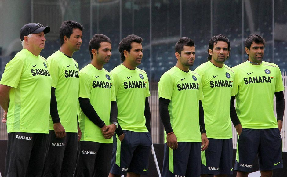 Team India Players pose in new apparel after a press conference in Chennai .PTI