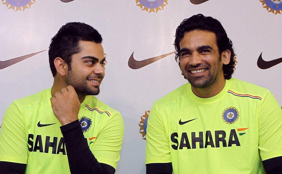 Cricketers Virat Kohli and Zaheer Khan during a press conference in Chennai. PTI