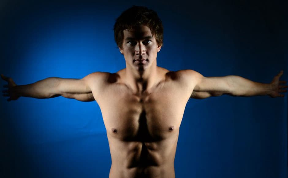 Nathan Adrian of the US Swimming Olympic team poses for pictures during a photo session.AFP
