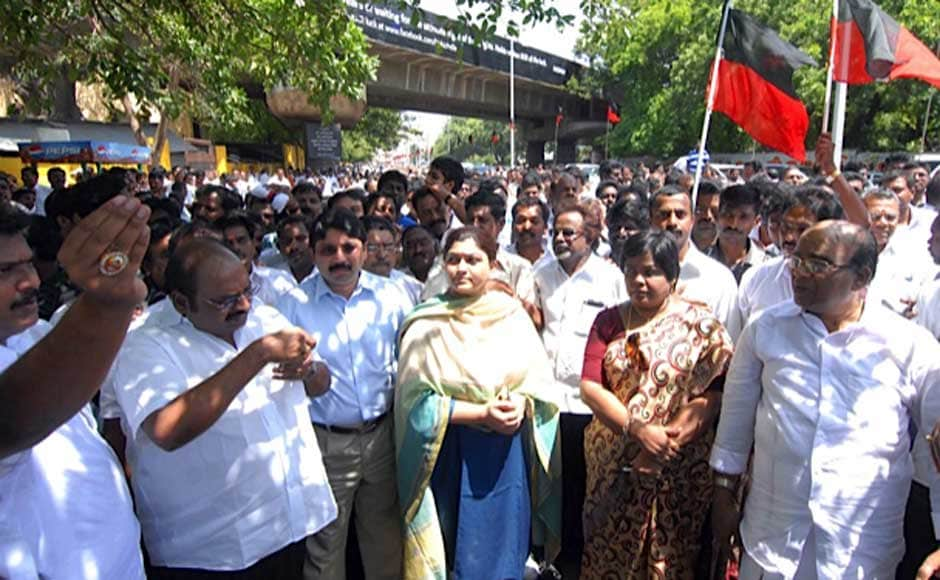 Actor Khushboo, Dayandhi Maran at the protest .Firstpost