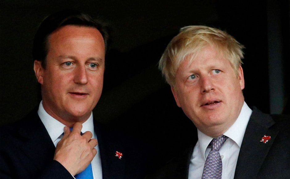 Britain's Prime Minister David Cameron, left, and London's Mayor Boris Johnson wait for the start of the Opening Ceremony at the 2012 Summer Olympics. AP/PTI