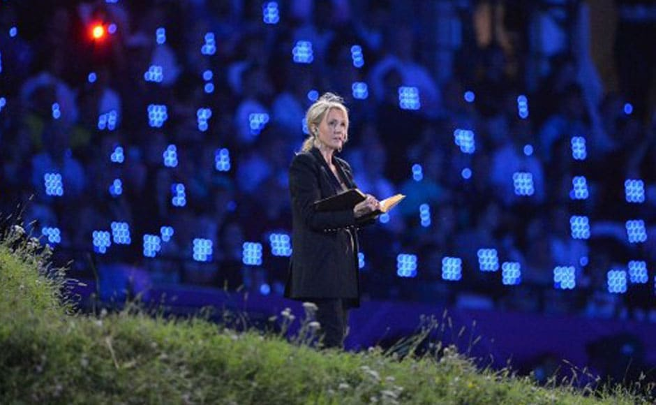 Harry Potter author J.K. Rowling takes part in the opening ceremony. AFP