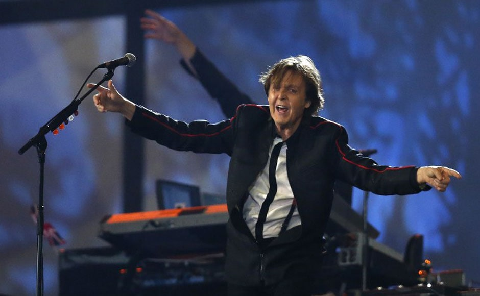 Ex-Beatle Sir Paul McCartney performs during the opening ceremony of the London 2012 Olympic Games. AFP