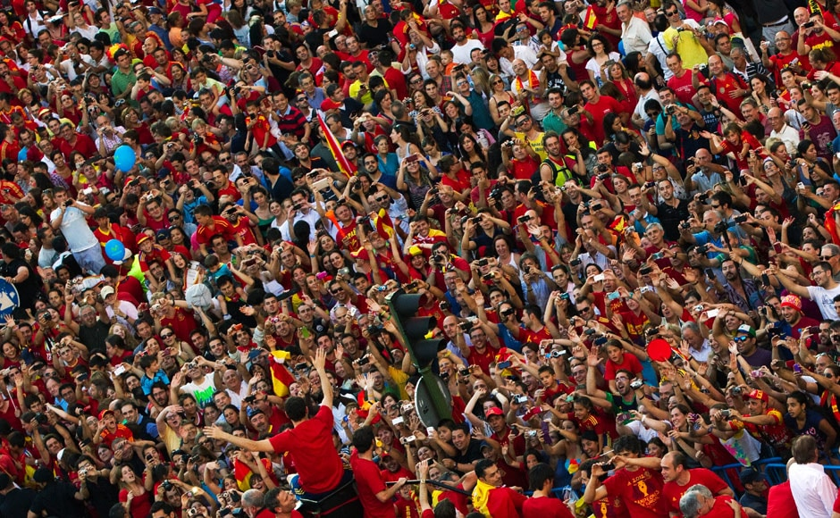 It seemed not a single Spaniard wanted to miss the break and celebrate, especially with Spain being in a precarious financial situation. Reuters