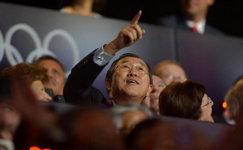 General Secretary of the UN Ban Ki-moon gestures during the opening ceremony of the London 2012 Olympic Games. AFP
