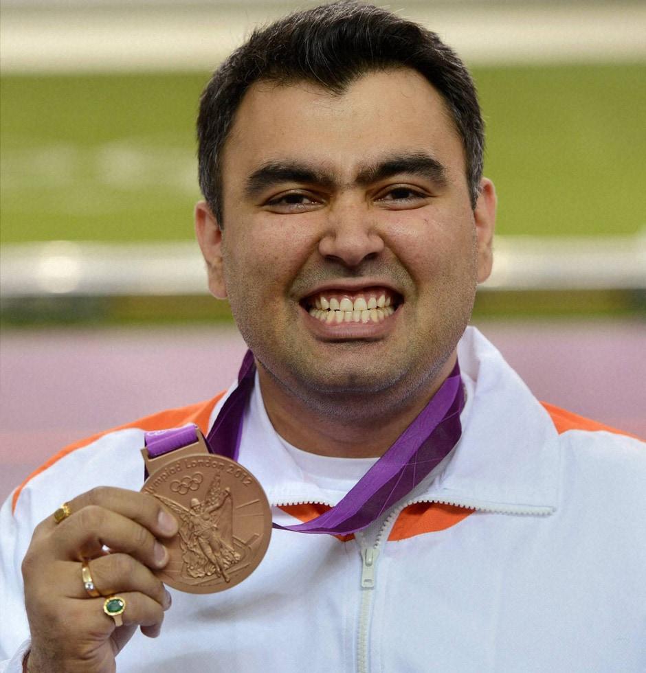 Indian shooter Gagan Narang with the bronze medal at the Olympic Games 2012. PTI