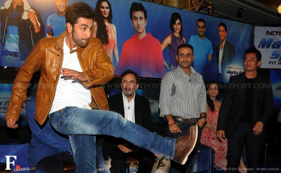 Ranbir Kapoor, Prannoy Roy, Virender Sehwag and Baichung Bhutia. Sachin Gokhale/Firstpost