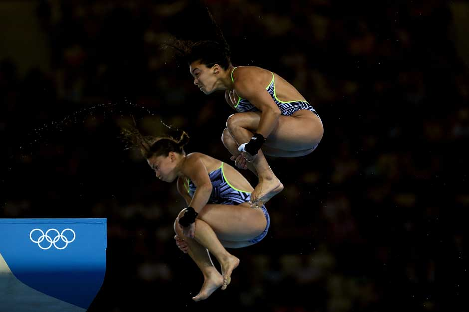 Bracing for impact? Roseline Filion and Meaghan Benfeito of Canada compete in the Women's Synchronised 10m Platform Diving.Getty Images
