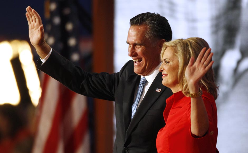 Republican presidential nominee Mitt Romney and his wife Ann wave to delegates following her speech at the Republican National Convention.Lynne Sladky/AP