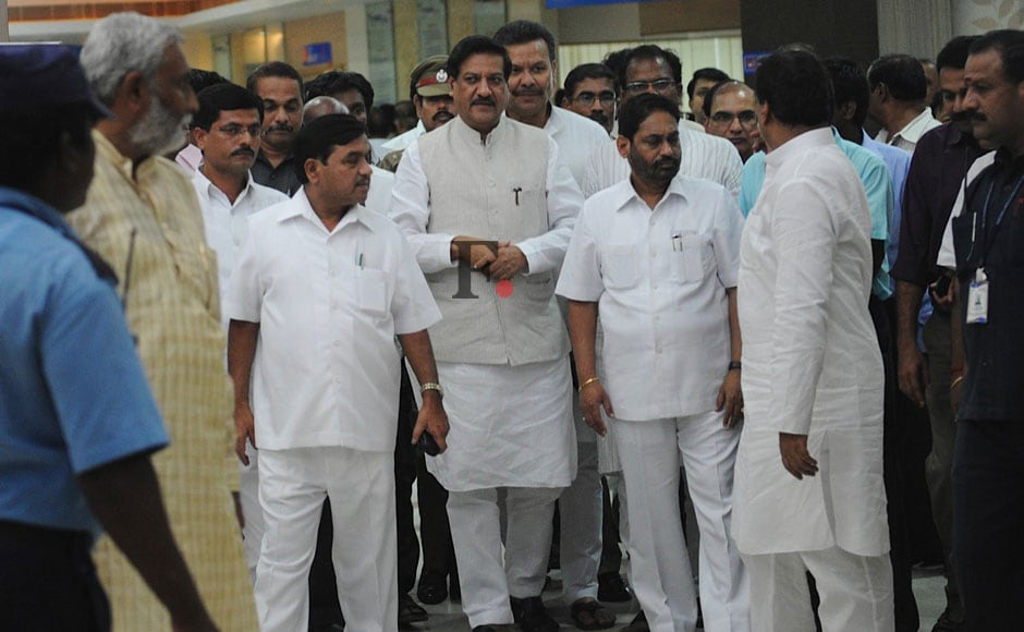 Maharashtra Chief Minister Prithviraj Chavan along with other ministers of the state arrives to visit Union Science and Technology Minister Vilasrao Deshmukh, being treated at a hospital, in Chennai.  Chavan accompanied by Deputy Chief Minister Ajit Pawar and several other ministers visited the hospital and enquired about Deshmukh's condition with his family members. <strong></strong>Firstpost