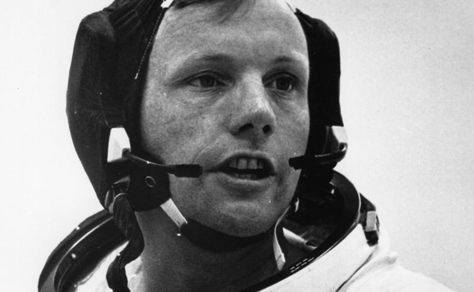 Neil Armstrong, Commander of the space ship Apollo 11, shortly before he set off for the Moon with fellow astronauts Michael Collins and Edwin 'Buzz' Aldrin in 1969. Getty Images