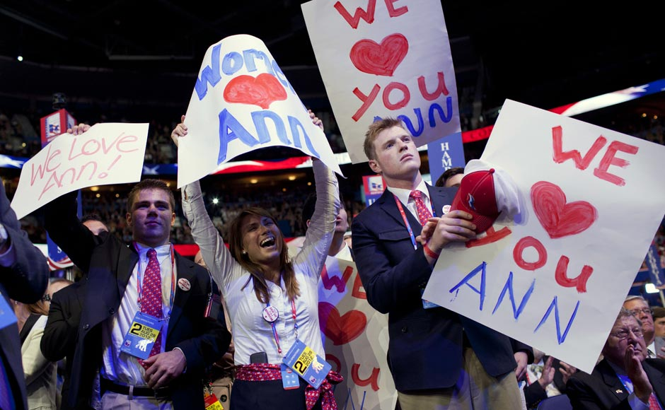 People cheer for Ann Romney, wife of Republican presidential candidate, former Massachusetts Gov. Mitt Romney as she delivers a speech at the Republican National Convention.Evan Vucci/AP
