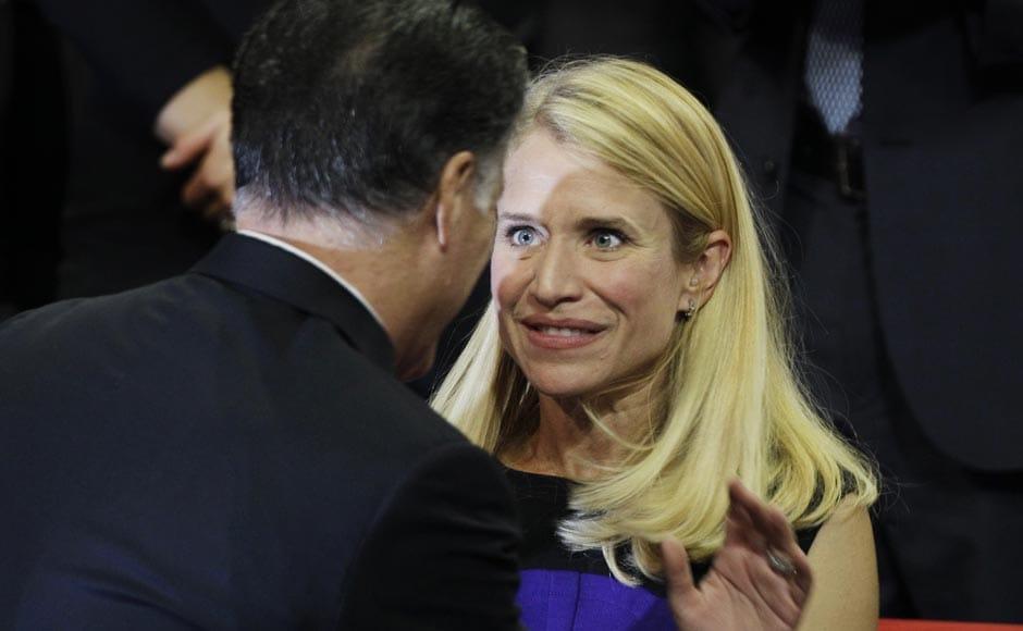 Republican presidential nominee Mitt Romney speaks to Republican vice presidential nominee Rep. Paul Ryan's wife Janna.Charlie Neibergall/AP