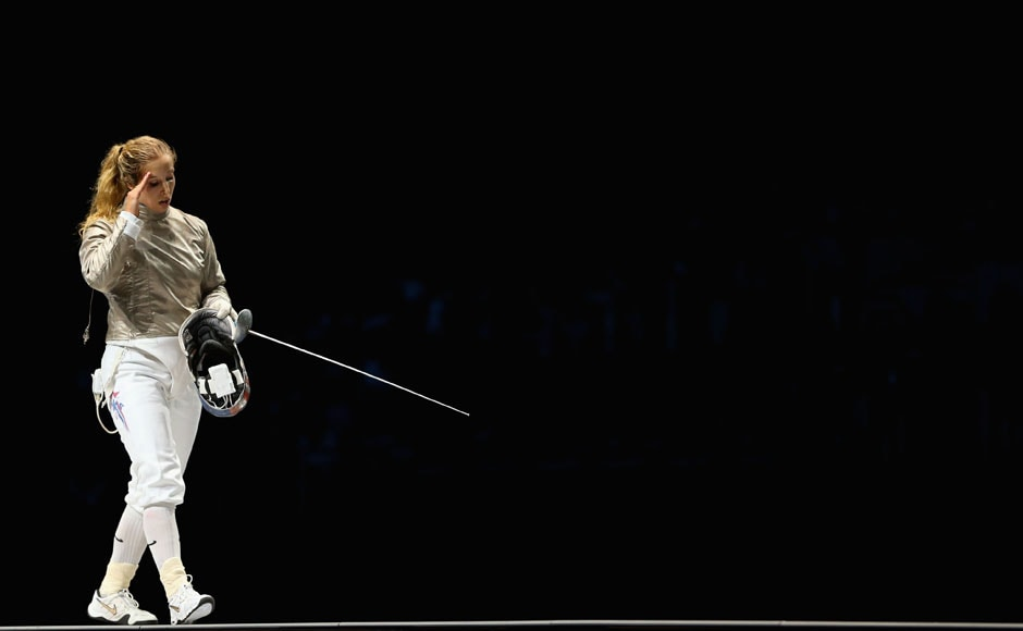 Mariel Zagunis of the United States is upset after losing in the Women's Sabre Individual Fencing Semi Final against Jiyeon Kim of South Korea on Day 5 of the London 2012 Olympic Games<strong>.</strong>She was the defending Olympic champion in the event.Hannah Johnston/Getty Images