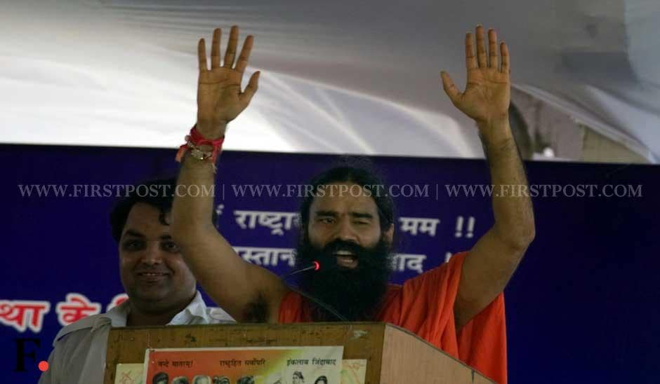 Baba Ramdev addresses the crowd at Ramlila Maidan. Naresh Sharma/ Firstpost
