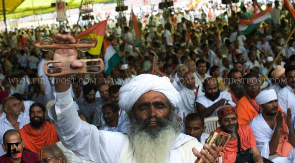 Thousands of fervent Ramdev supporters gathered at the Ramlila Maidan. Naresh Sharma/ Firstpost