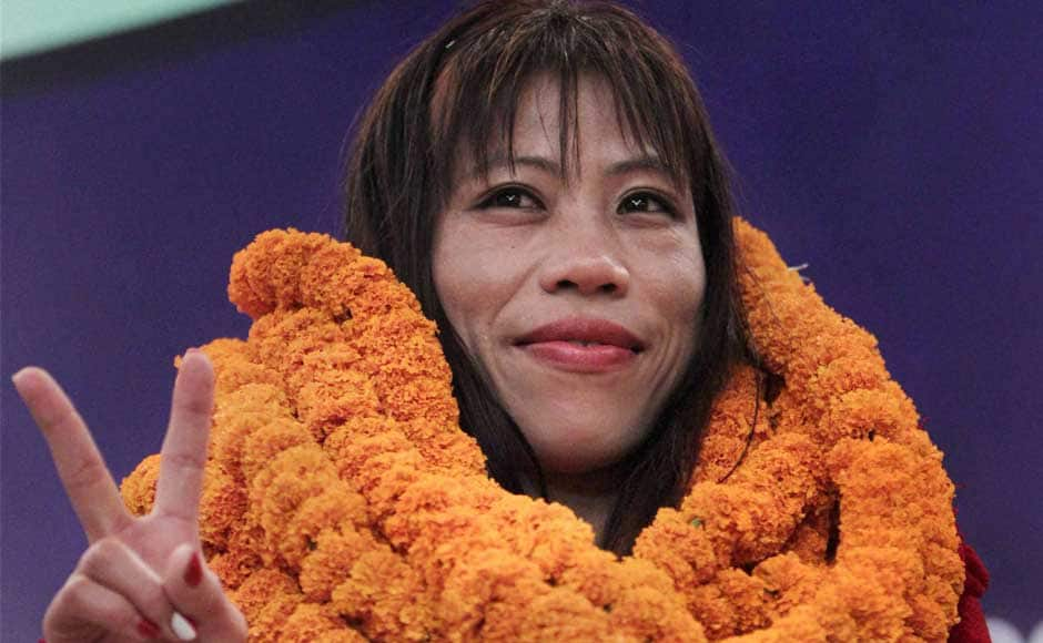 After Sushil Kumar and Yogeshwar Dutt were welcomed last night, it was Mary Kom's turn to be weighed down with garlands. PTI