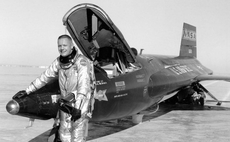 Neil Armstrong posing with a X-15. AP