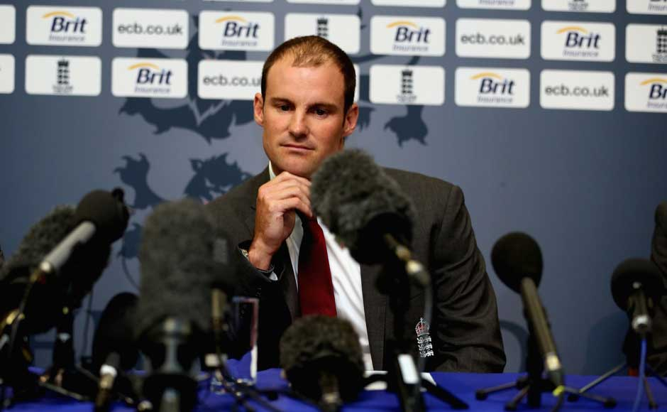 Strauss during the press conference where he announced his retirement from all forms of cricket. Getty Images