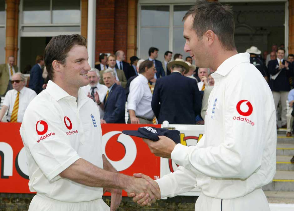 Back in time: Michael Vaughan presents Andrew Strauss with his first test cap during the first nPower test match between England and New Zealand at Lord's. Getty Images