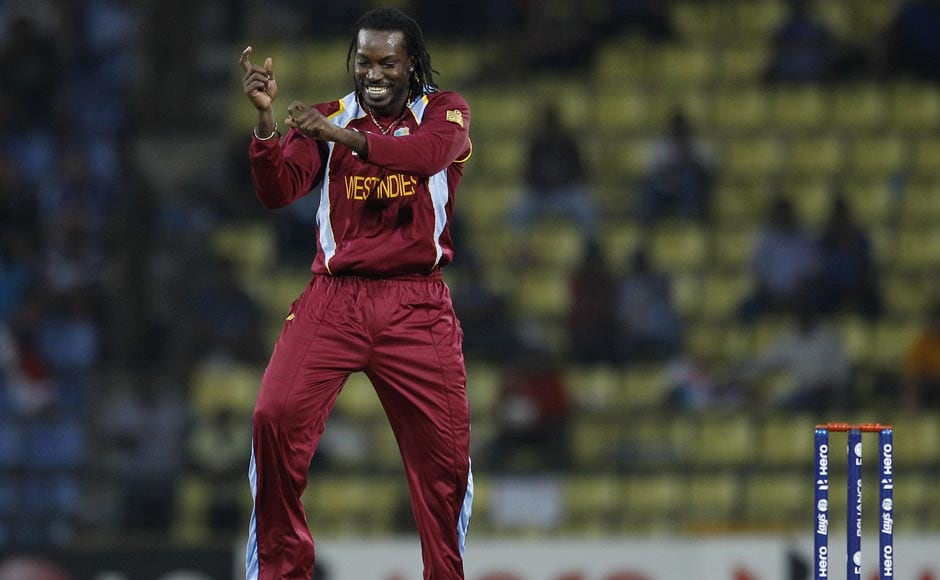 It's time to dance Gangnam style for Chris Gayle at the World T20 after taking the wicket of England's Jonny Bairstow. Aijaz Rahi/AP