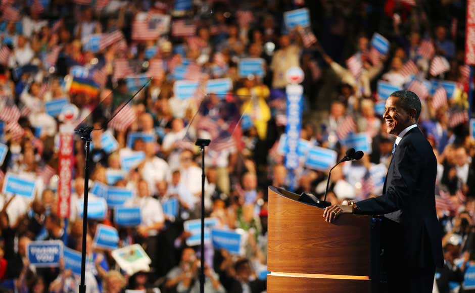 Democratic presidential candidate, US President Barack Obama speaks on stage to accept the nomination for president during the final day of the Democratic National Convention. Joe Raedle/Getty Images