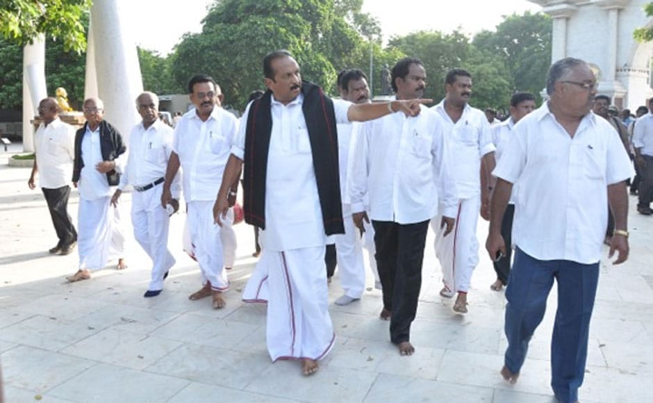 MDMK General Secretary Vaiko along with his party workers left for Sanchi to stage a