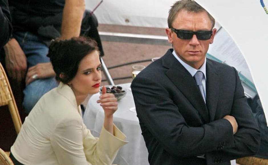 Bond girl Eva Green along with James Bond, British actor Daniel Craig, shooting a scene for 'Casino Royal' on 16 May 2006. Getty Images.
