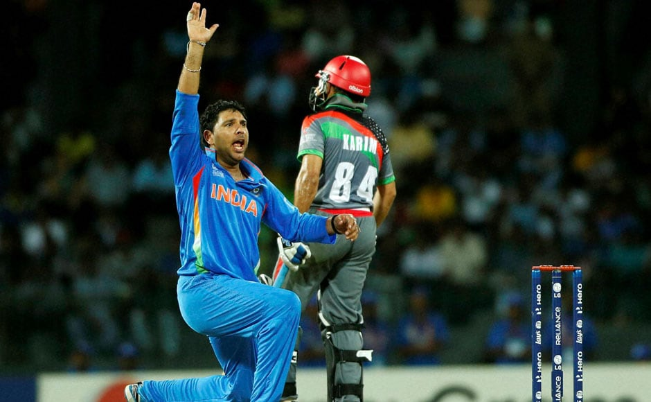 Yuvraj Singh successfully appeals to dismiss Afghanistan's batsman Nawroz Mangal during their ICC Twenty20 Cricket World Cup match in Colombo on Wednesday. AP