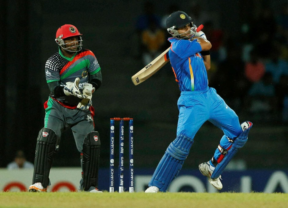 Virat Kohli plays a shot during their ICC Twenty20 Cricket World Cup match in Colombo on Wednesday. AP