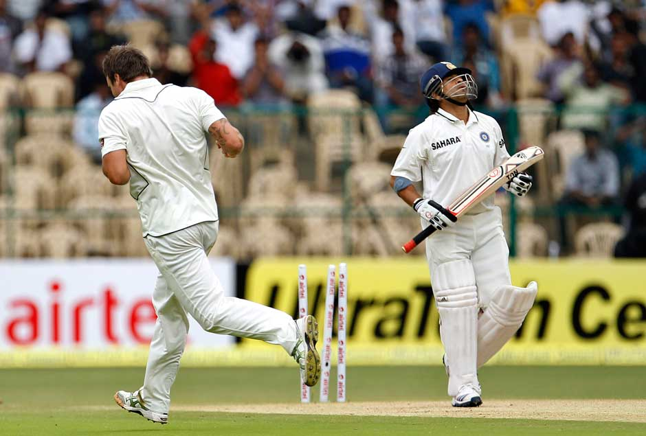 Even in the first innings, Sachin lost his wicket in almost similar fashion... this time it was Doug Bracewell who was the wicket-taker. Sunil Gavaskar pointed out that Sachin's footwork seemed a tad slow. AP