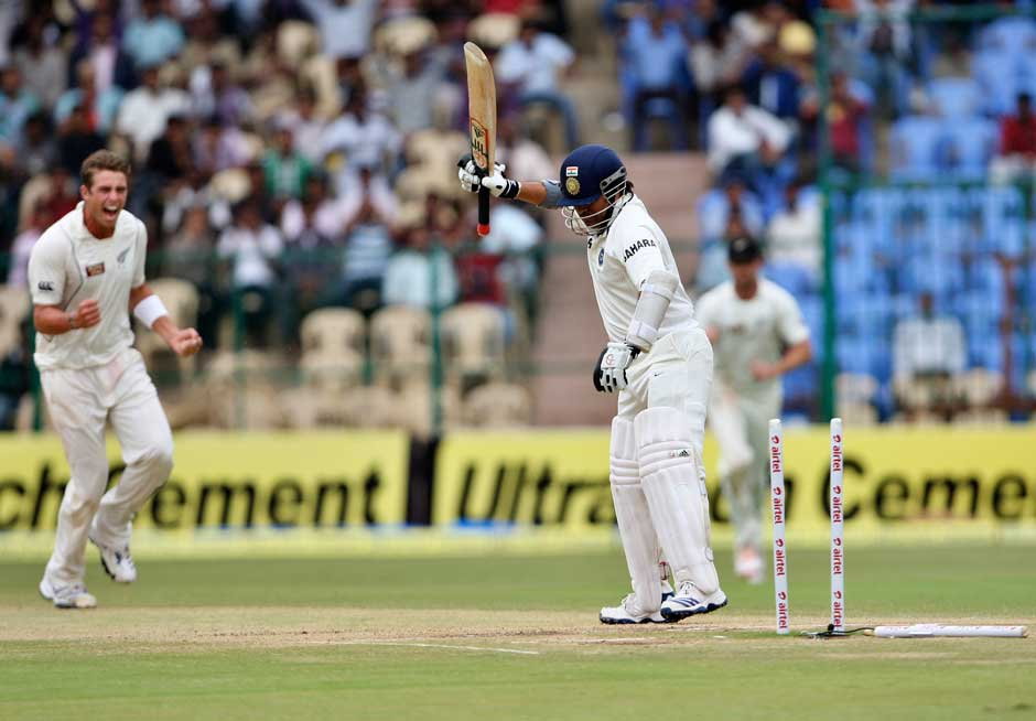 A rare sight: Sachin, usually very composed loses his cool after getting bowled for the third time this series. Questions have already been raised over his form. AP