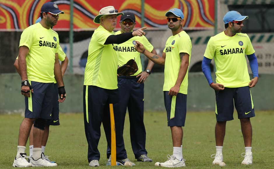 Duncan Fletcher gives instructions to his team during a practice session. The Indians will play Sri Lanka and Pakistan in a couple of warm-up games before the tournament. AP